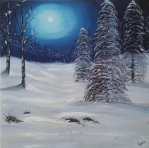 Moonlit Snowy Trees
